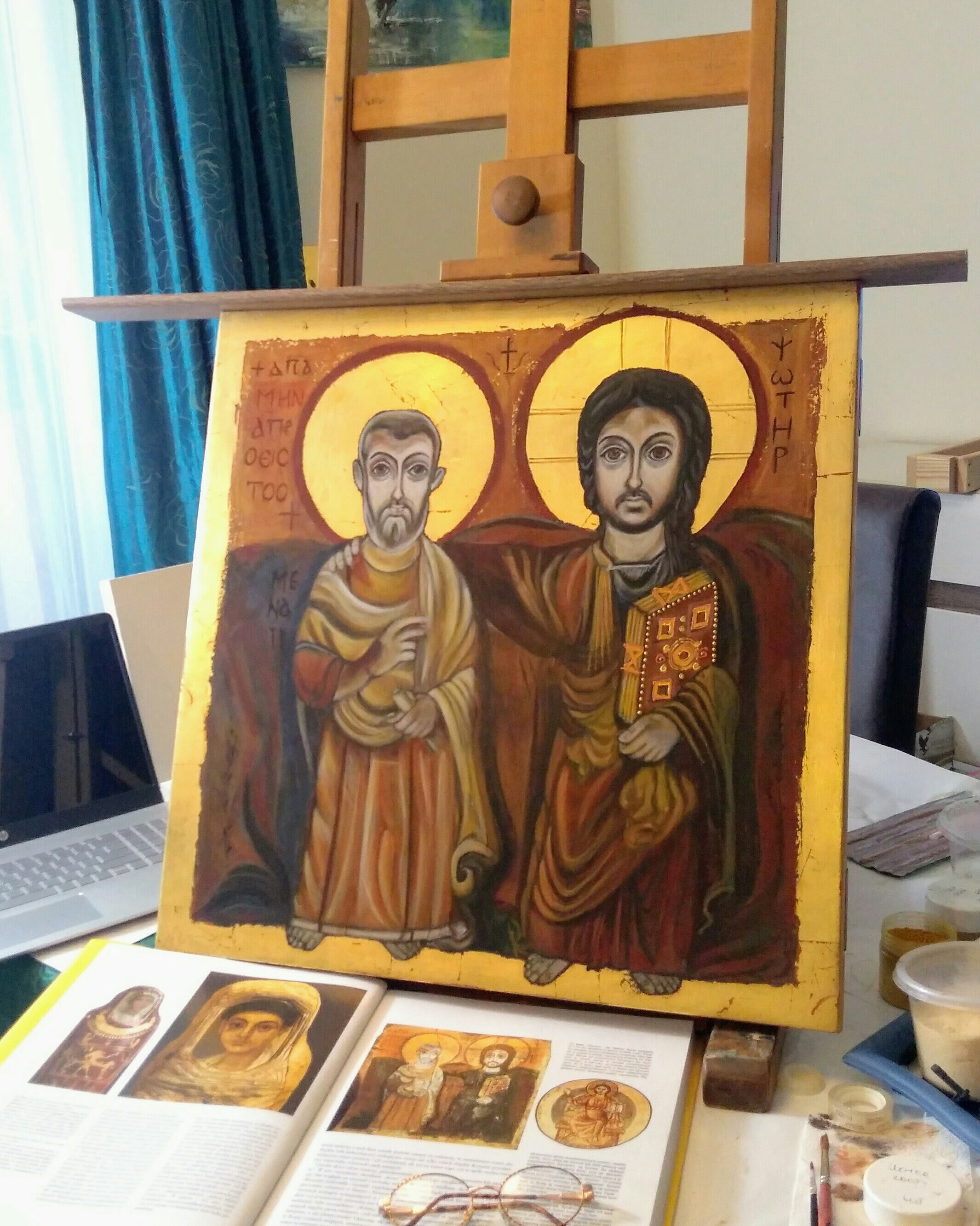 Jezus z Przyjacielem Jezus i Św. Menas – Ikona Przyjaźni
